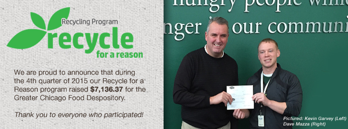 Kevin Garvey presents Dave Mazza at the GCFD a check for $7136.37 on behalf of our Recycle for a Reason Progrom